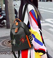 Рюкзак женский кожзам с заклепками и вышивкой Claudia