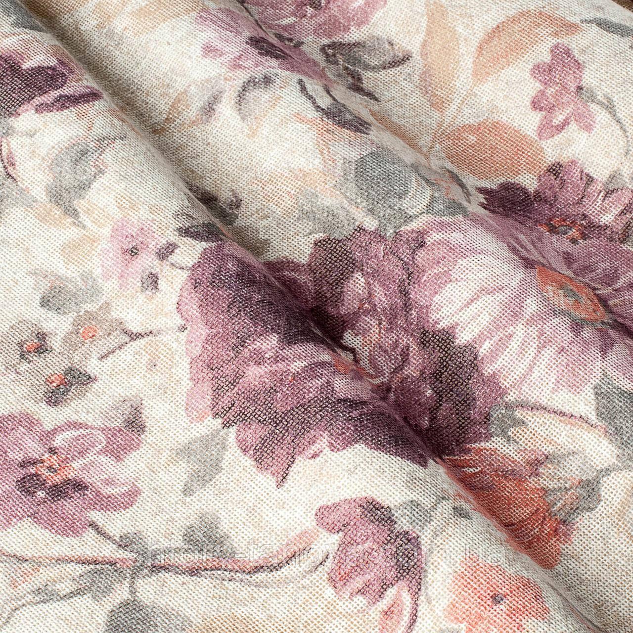 Испанская тюль с цветочными мотивами бежевая
