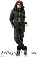 Женский лыжный костюм Гусеница черный