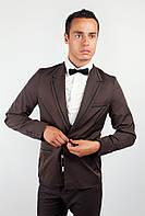 Пиджак мужской с контрастными вставками AG-0000167 Темно-коричневый