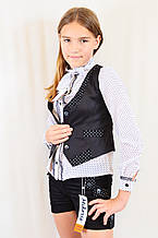 Детская школьная черная жилетка со вставками в горошек на девочку р.122-146