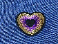 Нашивка сердце люкерс золото цвет фиолетовый 50х40мм