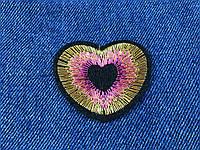 Нашивка сердце люкерс золото цвет розовый 50х40мм