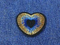 Нашивка сердце люкерс золото цвет голубой 50х40мм