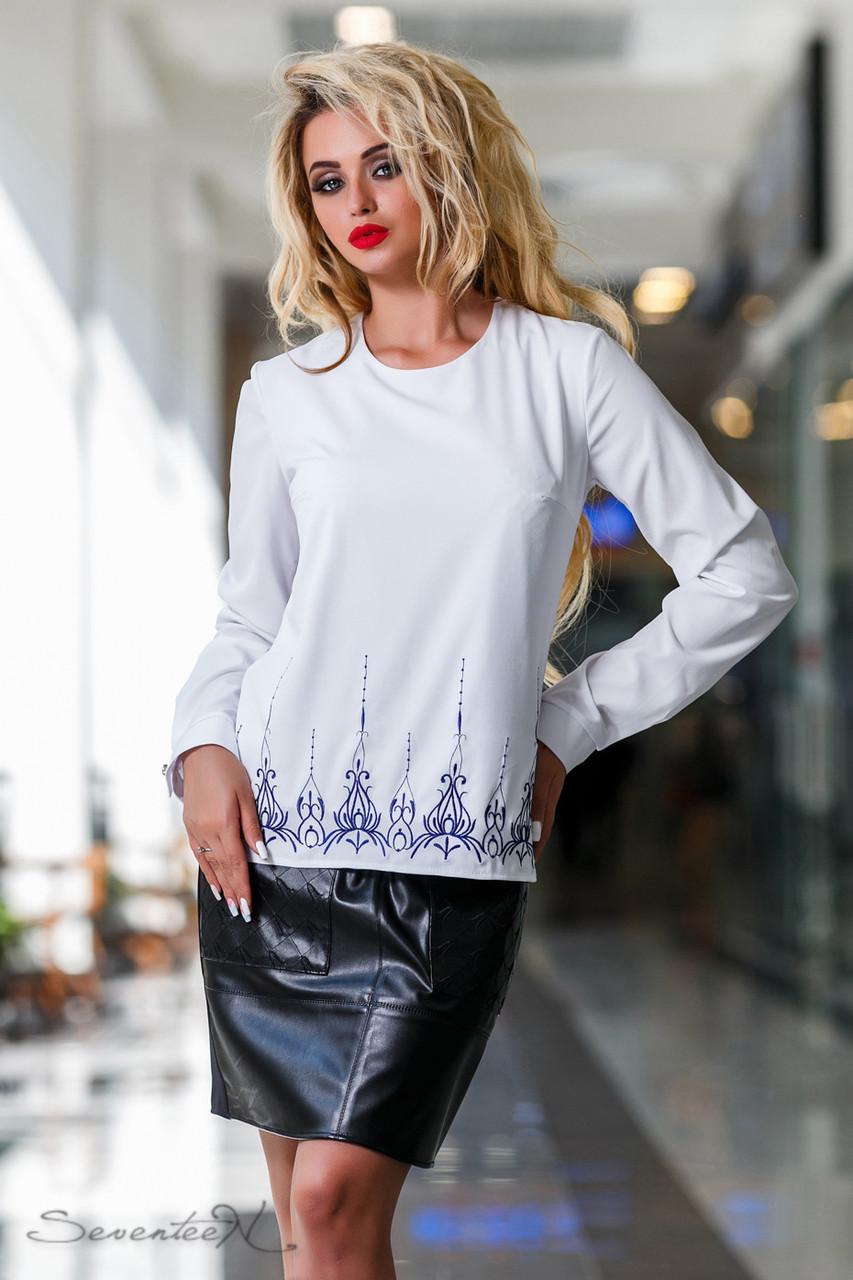 Белая блуза с вышивкой с длинным рукавом софт