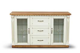 Комод деревянный с витражами для гостиной и кухни  Freedom (Фридом) Микс мебель, массив дуба слоновая кость