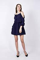 Молодежное летнее платье с карманами СИНЕЕ, фото 1