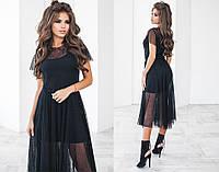 Платье женское с сеткой, материал - трикотаж, цвет - черный