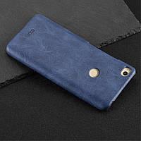 Чехол накладка для Xiaomi Mi MAX 2 пластиковый с кожаной вставкой, MOFI Темно-синий