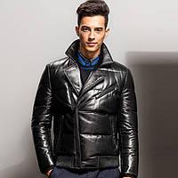 Мужская кожаная куртка - пуховик. Модель 6242.