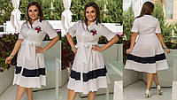 Женское платье-халат большого размера белое