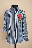 Детская рубашка или блуза в полоску с вышивкой