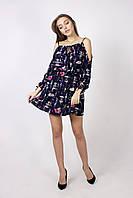 Молодежное летнее платье с карманами ТЕМНО-СИНЕЕ, фото 1
