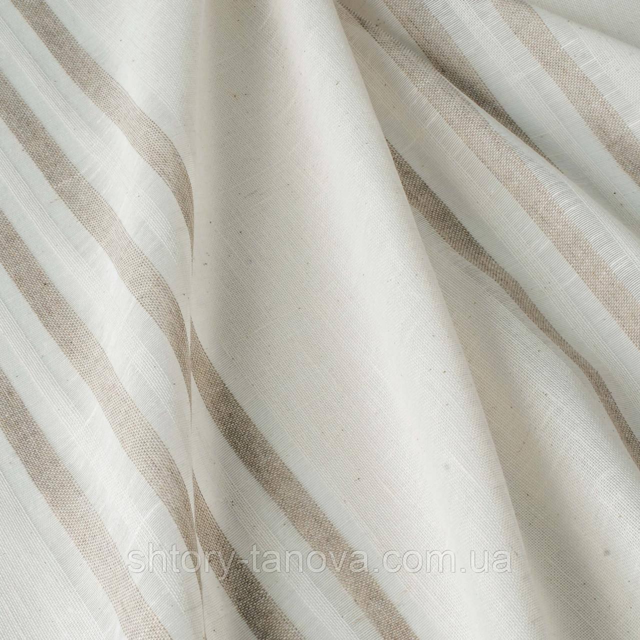 Тюль в бежевую полоску на белом фоне