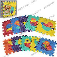 Коврик мозаика M 2619EVA, животные, 10 деталей, массажная текстура, мягкий и прочный материал