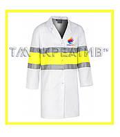 Халаты рабочие мужские со светоотражающими полосами (от 50 шт.)