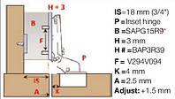 Ответная планка Salice BAP3R39 прямая, под саморез, клип-серии Domi, Н=3мм