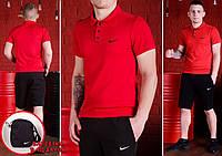 Футболка поло + шорты Nike, красный поло+черные шорты