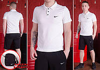 Футболка поло + шорты Nike, белый поло+черные шорты