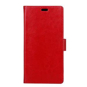 Чехол книжка для Meizu M5C боковой с отсеком для визиток, Гладкая кожа, Красный