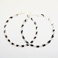 Серьги кольцами Huge серебро-зебра, диаметр 6 см