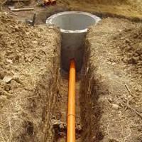 Устройство канализации. Рытье канализации. Копка сточных ям. Копка канализации. Монтаж канализации