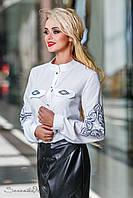 Белая блузка, с длинным рукавом, с вышивкой и воротником стойкой,размеры 44, 46, 48, 50