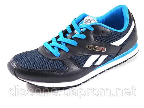 Кроссовки мужские синие летние Reebok сетка текстиль спортивные шнурок