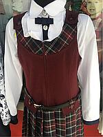 Модный школьный бордовый сарафан Инга для девочки