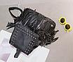 Рюкзак кожзам городской женский Ковбойский с заклепками Черный, фото 2