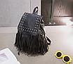 Рюкзак кожзам городской женский Ковбойский с заклепками Черный, фото 3