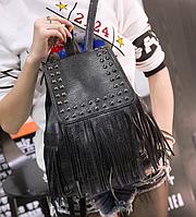 Рюкзак кожзам городской женский Ковбойский с заклепками Черный