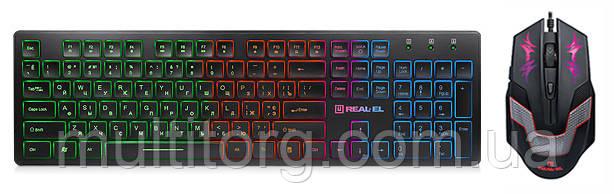 Клавиатура с мышью REAL-EL Comfort 7070 + RM-510 игровые с подсветкой