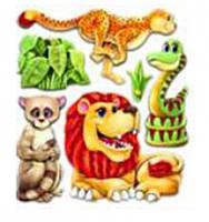 Объемные наклейки Зверюшки лев, змея, леопард, Mota (S-307-4)