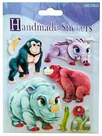 Объемные наклейки Зверюшки носорог, медведь, горилла, кабан, Mota (S-307-2)