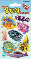Объемные наклейки Рыбки с осьминогом на голубом фоне, Mota (S-407-2)
