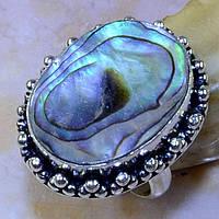 Кольцо с натуральным перламутром, галиотис в серебре.