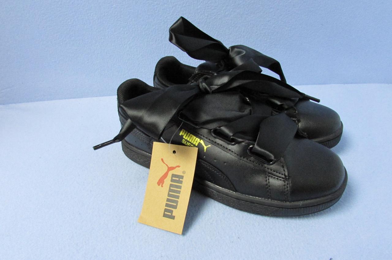Кроссовки женские Puma банты (2876-1) черные код 0729а - Интернет-магазин d1860fa4285