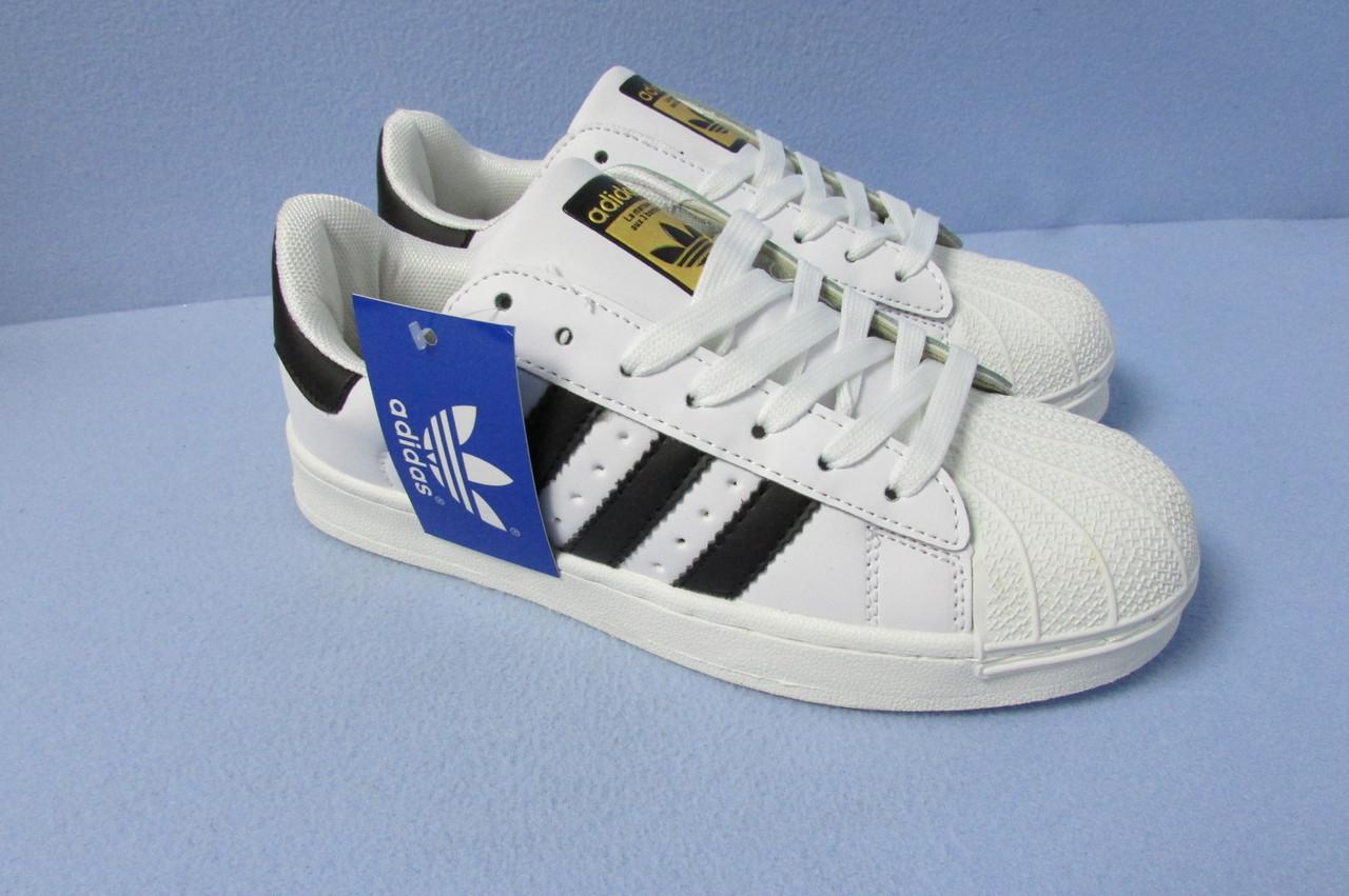 507a415b Кроссовки Adidas Superstar 529-10 бело-черные код 0724А - Интернет-магазин