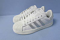 Кроссовки Adidas Superstar 529-9 бело-серые код 0725А