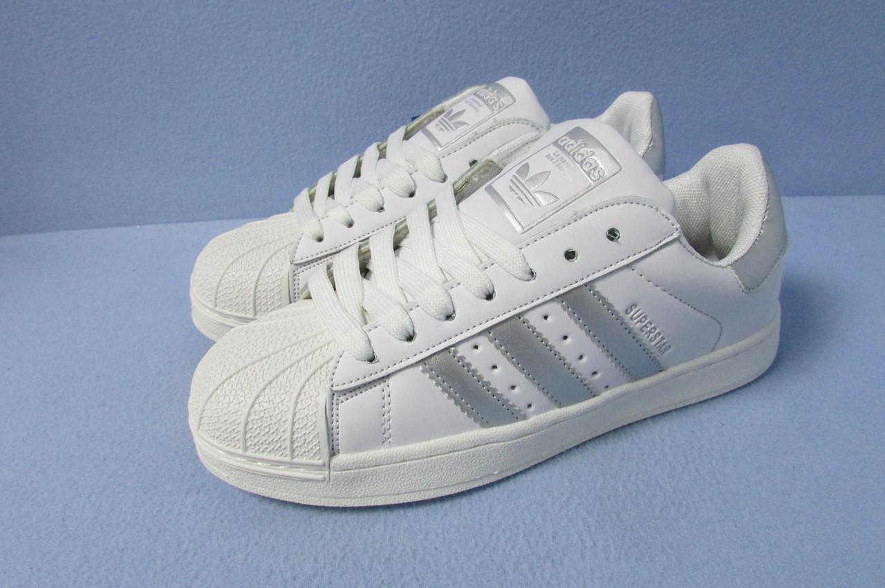 da1a5956 Кроссовки Adidas Superstar 529-9 бело-серые код 0725А - Интернет-магазин