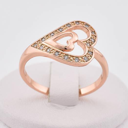 """Кольцо """"Муза"""" 13324 размер 21, белые камни, позолота РО"""