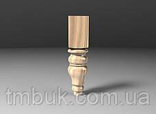 Точеная из дерева ножка круглая с квадратным основанием. Для мягкой мебели, тумб и кресел. 210 мм, фото 3