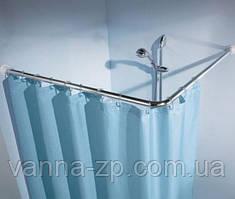 Угловой карниз для шторы в ванну 90х90х90 см хром