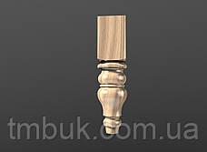 Точеная из дерева ножка круглая с квадратным основанием. Для мягкой мебели, тумб и кресел. 210 мм, фото 2