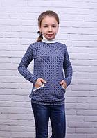 Модная трикотажная детская кофта-туника с воротничком