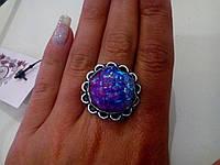 Кольцо с  камнем друза агата в серебре.
