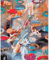 Карпы кои, Серия Животные, рисование по номерам, 40 × 50 см, Идейка (КН2481)