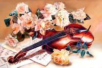 Мелодия скрипки, серия букет, рисование по номерам, 40 × 50 см, Идейка (KH5500)