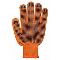Перчатки рабочие 3 нити с ПВХ оранжевые